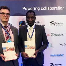 Oumar Sylla of UN-Habitat and Jaap Zevenbergen of the University of Twente - ITC launching the new GLTN publication.