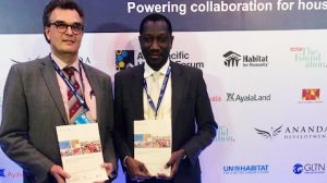 Oumar Sylla of UN-Habitat and Jaap Zevenbergen of the University of Twente - ITC launching the new GLTN publication.