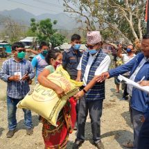 Nepal's Belaka Municipality distributes food grains to vulnerable households. (Photo@Swostik Thapa/ Belaka)