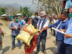 Nepal's Belaka Municipality distributes food grains to vulnerable households. (Photo@Swostik Thapa/ Belaka)
