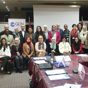 Representatives of UN-Habitat Regional Office of Arab States, GLTN and the awarded organisations: APN, Rasheed TI, UTI, UAWC, LCPS, ISTIDAMA, IYCY