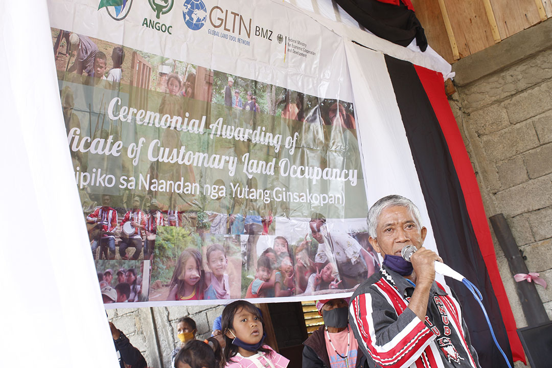 Datu Herminio Guinto, NAMAMAYUK Tribal Adviser delivering his appreciation speech during the awarding ceremony on July 23, 2020 at Sitio San Guinto, Bacusanon, Pangantucan, Bukidnon.